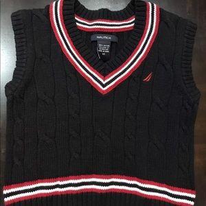 Nautica Kids Sweater Vest Size 3T Black V-Neck